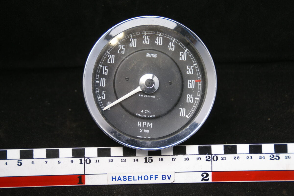 SMITHS toerenteller met glas en chroomrand ca 80mm 160413-4047-0