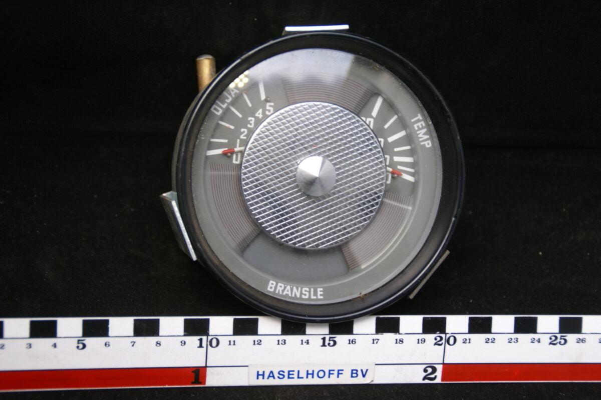 insrtument met oliedruk- temperatuur- en brandstofmeter ca 80mm met glas en zwarte rand 160413-4048-0