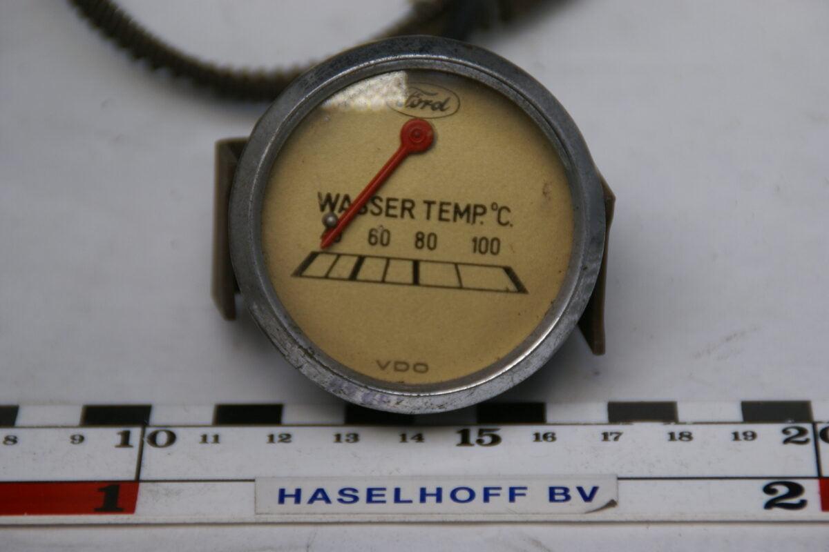 VDO FORD watertemperatuurmeter metglas en chroomrand ca 80m 160413-4053-0