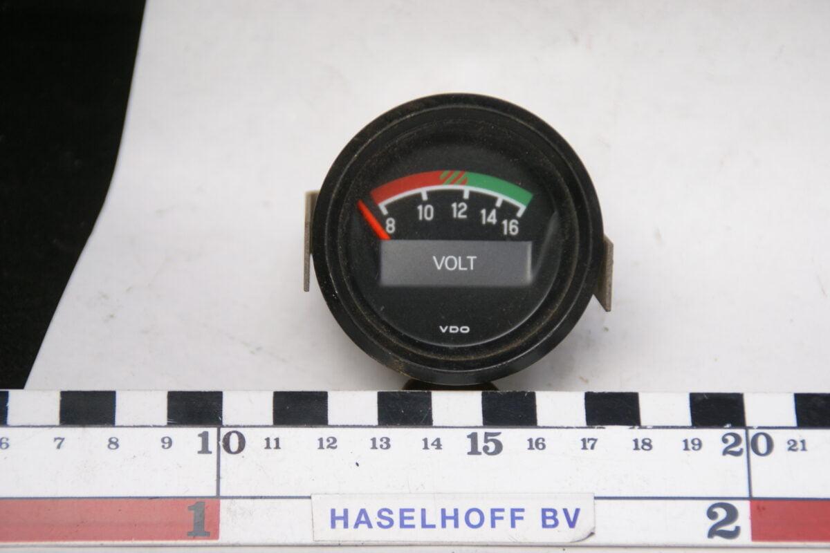 VDO voltmeter met glas en zwarte rand ca 52mm 160413-4055-0