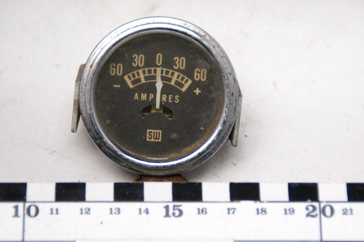 SW amperemeter met glas en chroomrand ca 52mm 160413-4056-0