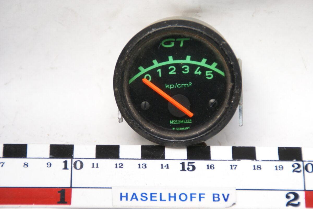 MOTOMETER drukmeter met glas en zwarte rand 160413-4068-0