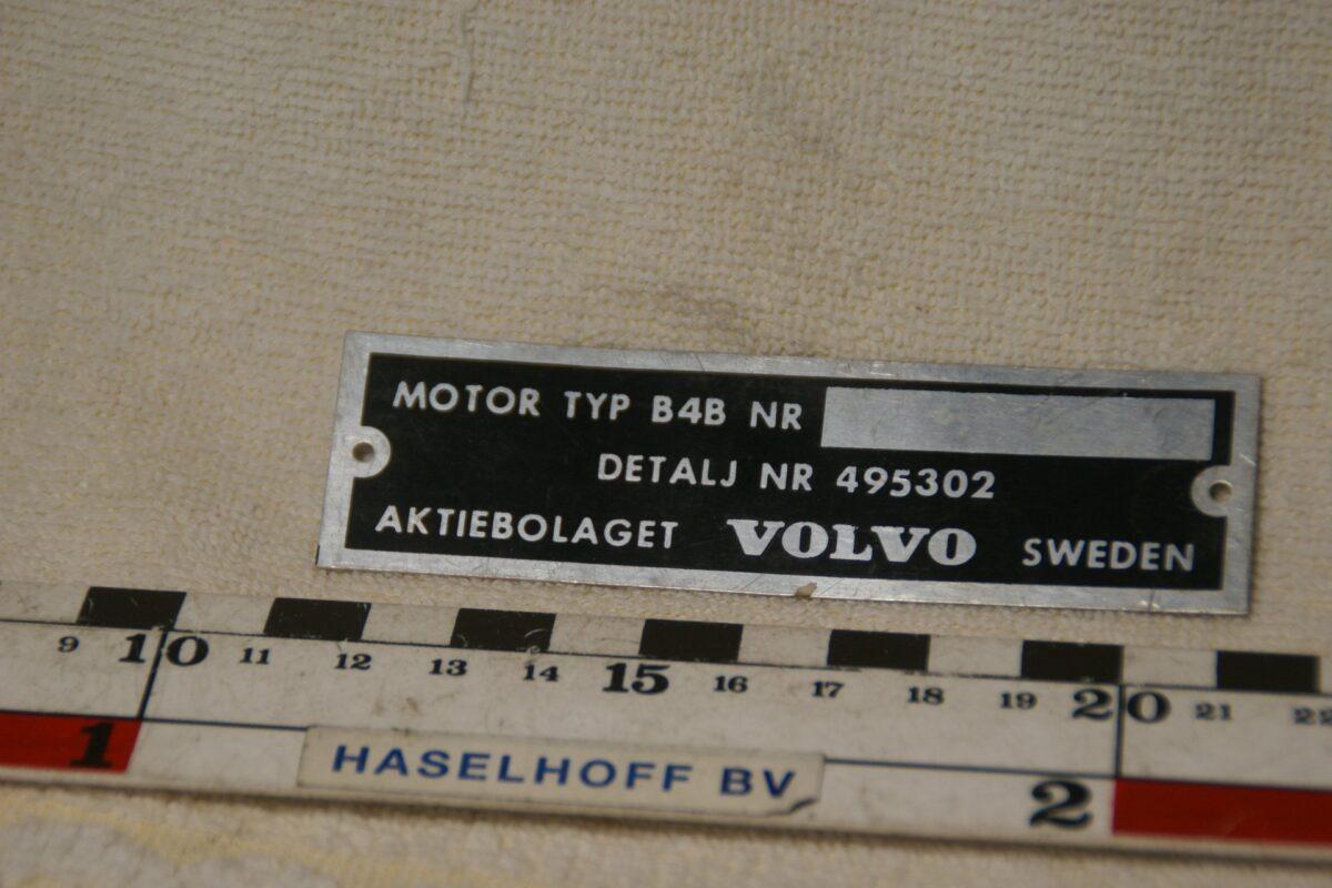 DSC00375 NOS Volvo ID plaatje voor B4Bmotor nr 495302