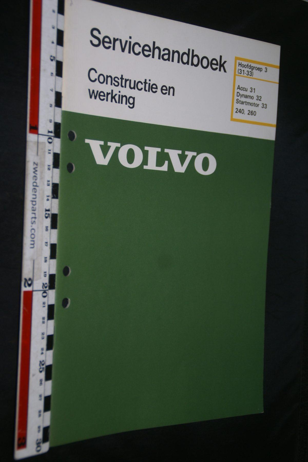 DSC06758 1980 origineel Volvo 240, 260 servicehandboek 3 (31-33) accu, dynamo, startmotor 1 van 800 TP 30221-1