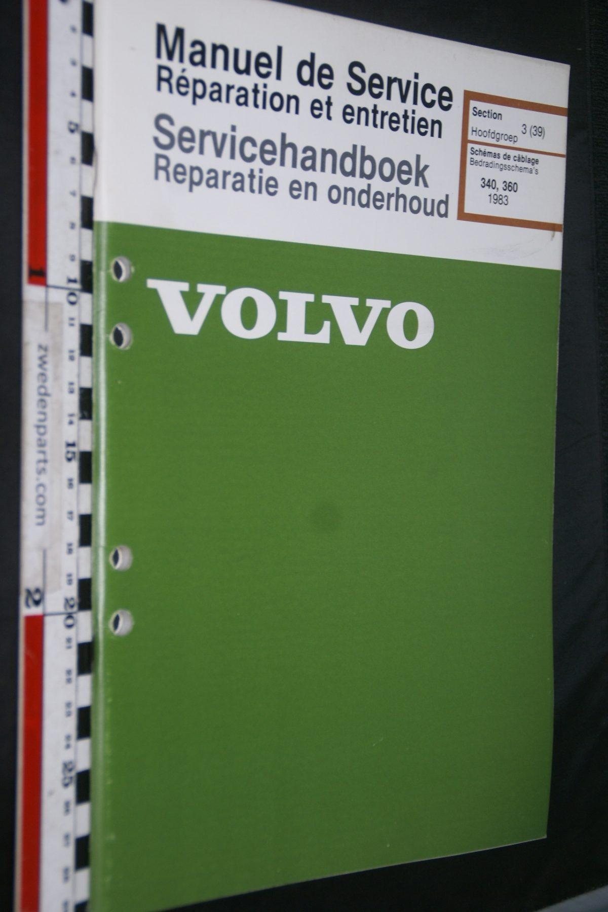 DSC06798 1982 origineel Volvo 340, 360 servicehandboek 3 (39) bedradingsschema 1 van 1.500 TP 35149-1 Francais, Hollands