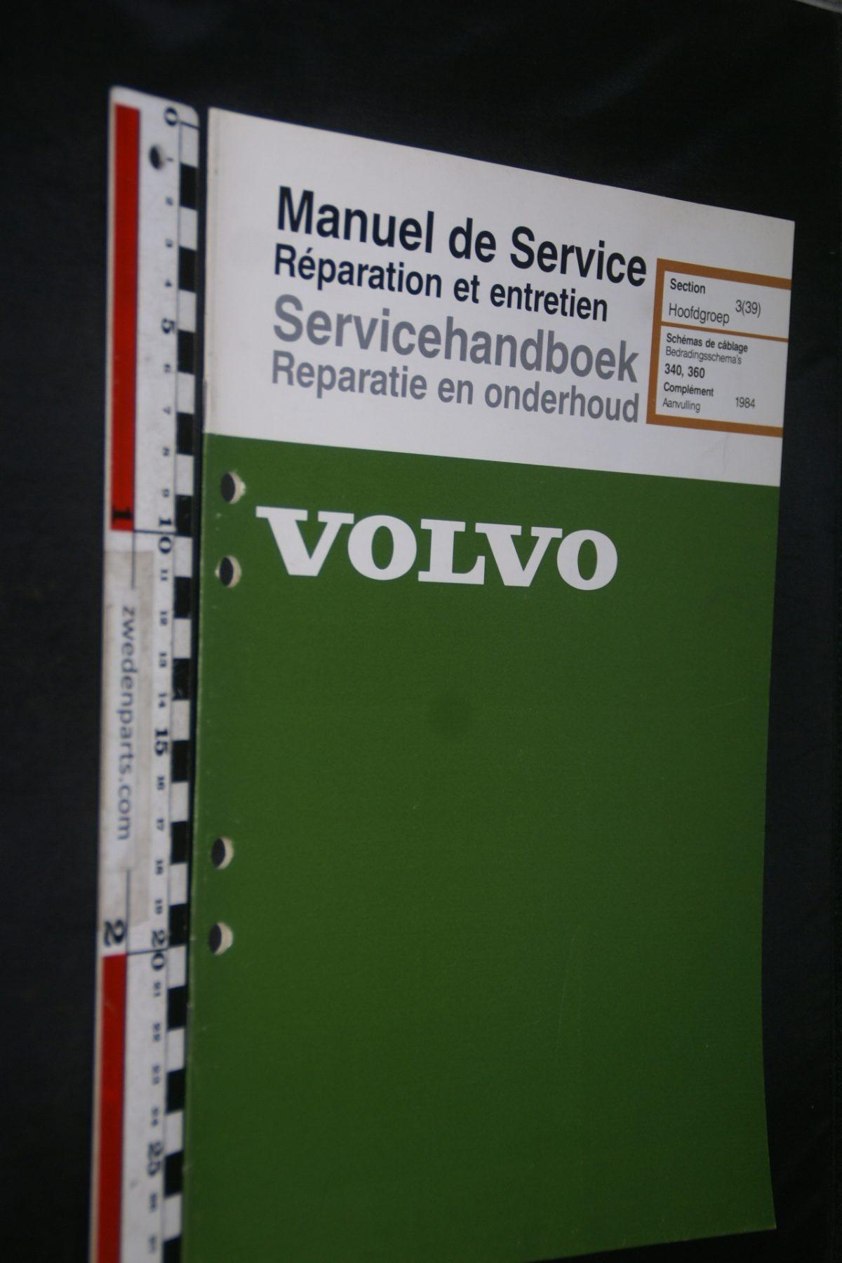 DSC06850 1983 origineel Volvo 343 servicehandboek 3(39) bedradingsschema 1 van 1500 TP 35187-1, Francais, Hollands