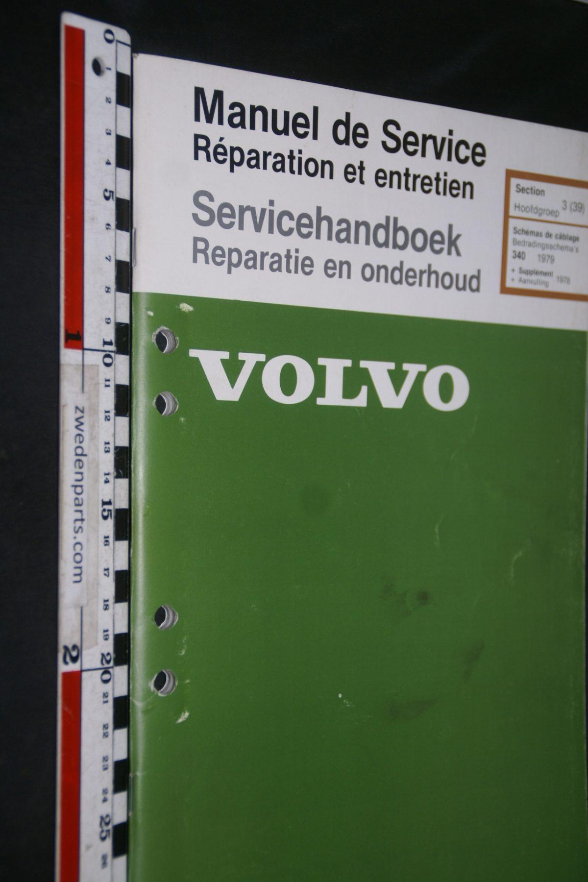 DSC06854 1979 origineel Volvo 340 servicehandboek 3(39) bedradingsschema 1 van 2000 TP 35001-1 Francais, Hollands