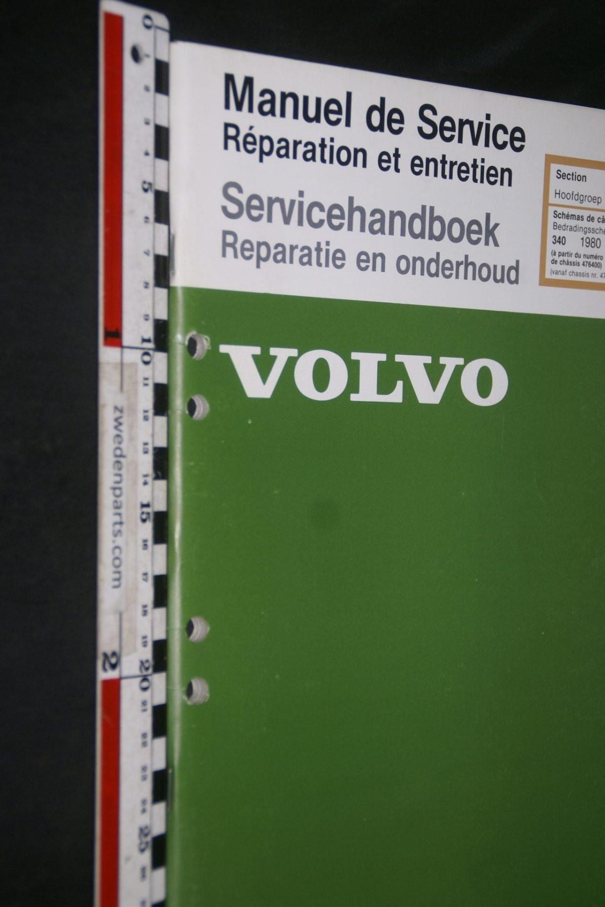 DSC06858 1979 origineel Volvo 340 servicehandboek 3(39) bedradingsschema 1 van 2000 TP 35035-1 Francais, Hollands