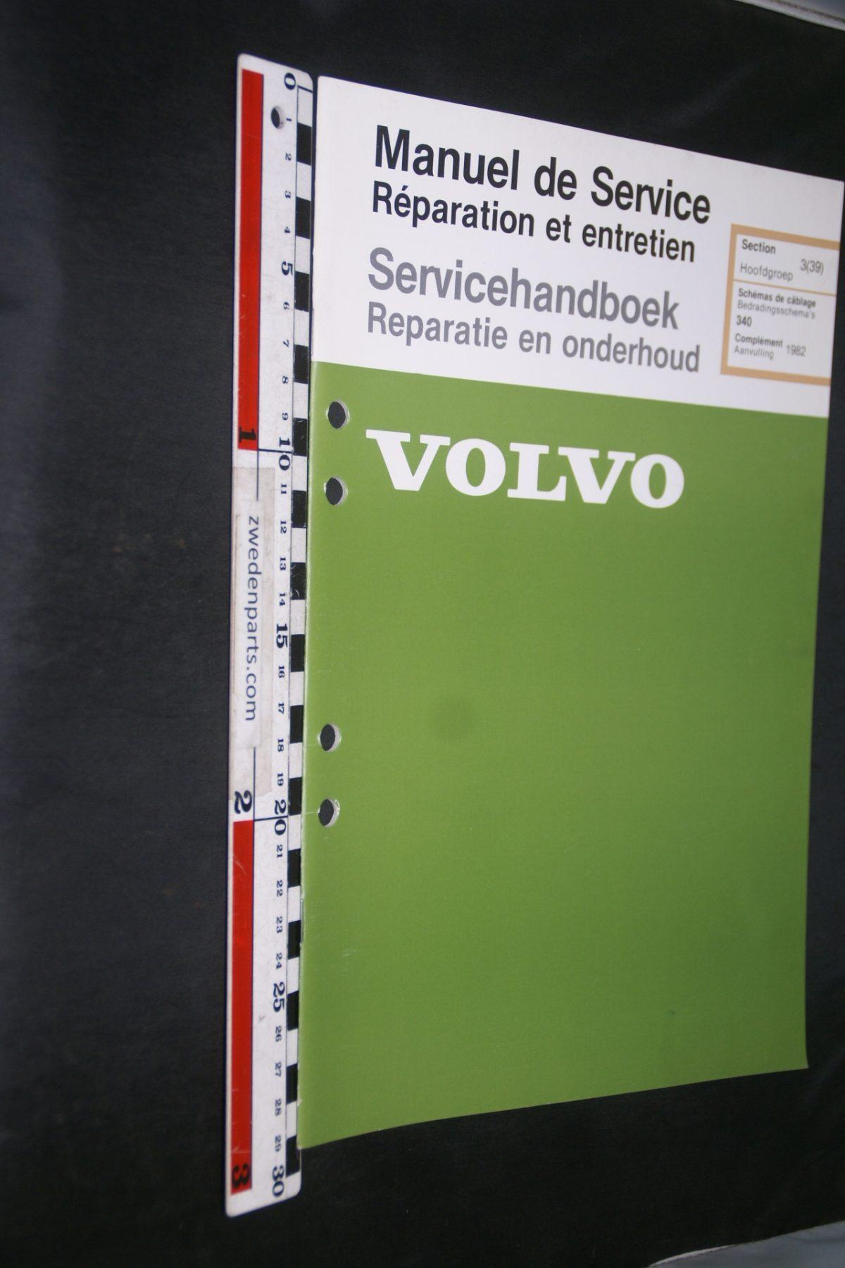 DSC06862 1981 origineel Volvo 340 servicehandboek 3(39) bedradingsschema 1 van 1500 TP 35096-1 Francais, Hollands