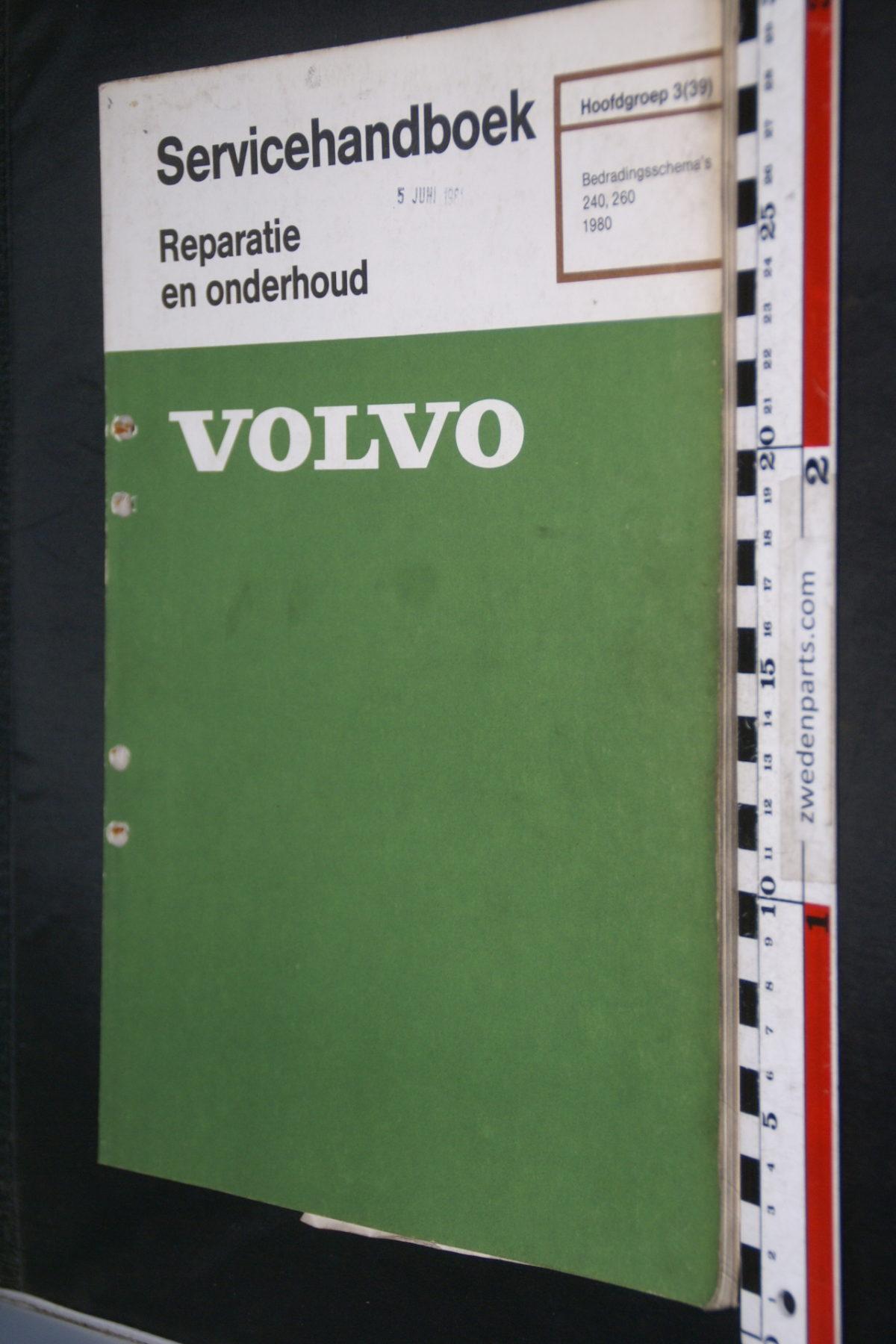DSC08449 1981 origineel Volvo 240, 260 servicehandboek  3 (39) bedradingsschema 1 van 800 TP 30258-1