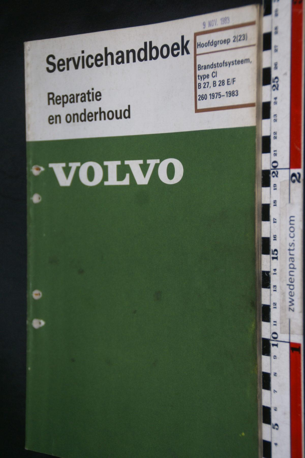 DSC08463 1983 origineel Volvo 260 servicehandboek  2 (23) brandstofsysteem CI B27 B28E,F 1 van 800 TP 30596-1