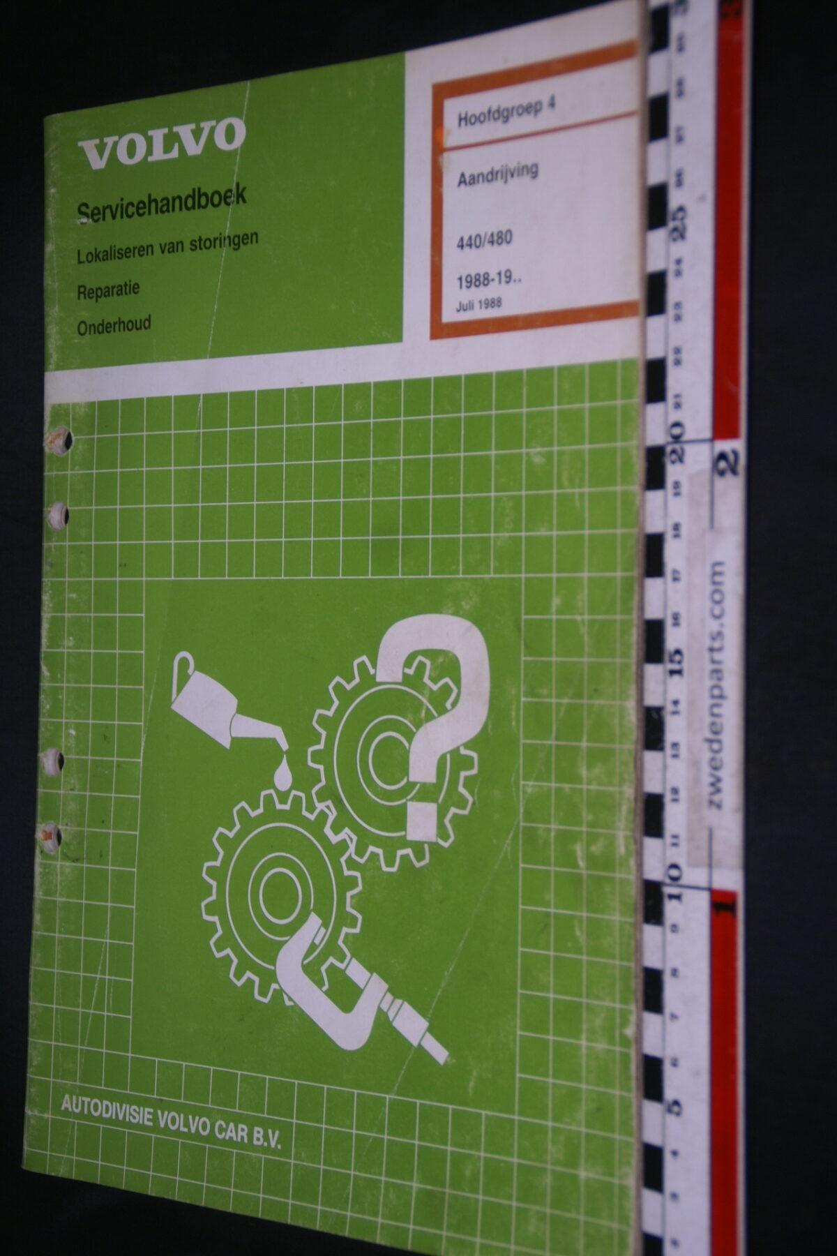 DSC08535 1988 origineel Volvo 440, 480 servicehandboek  4 aandrijving 1 van 1.000 TP 3535377-2