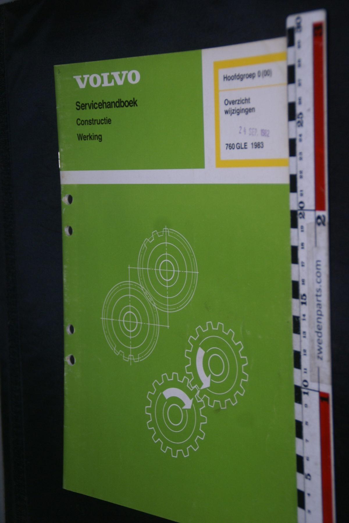 DSC08597 1983 origineel Volvo 760GLE servicehandboek  0 (00) overzicht wijzigingen 1 van 1.200 TP 30537-1