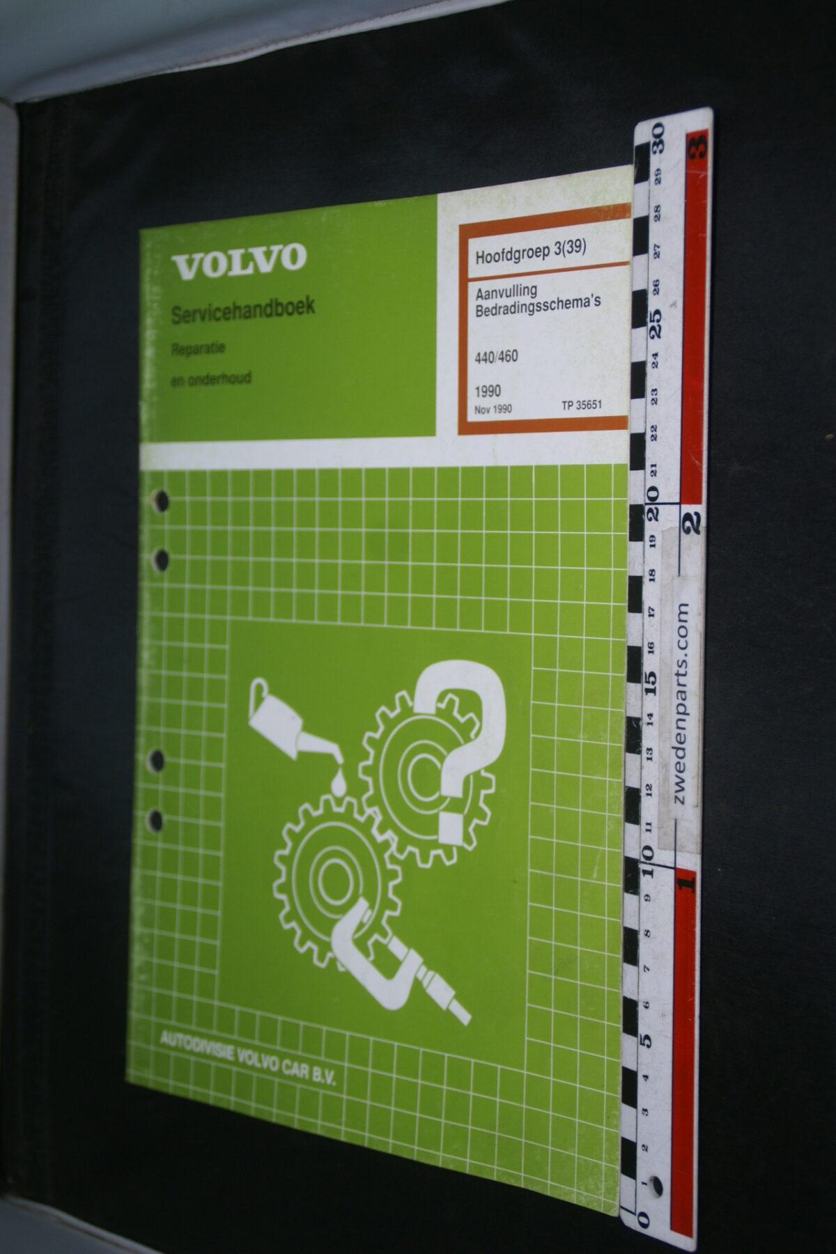 DSC08858 1990 origineel Volvo 440, 460 servicehandboek  3 (39) bedradingsschema 1 van 1.200 TP 35651-1