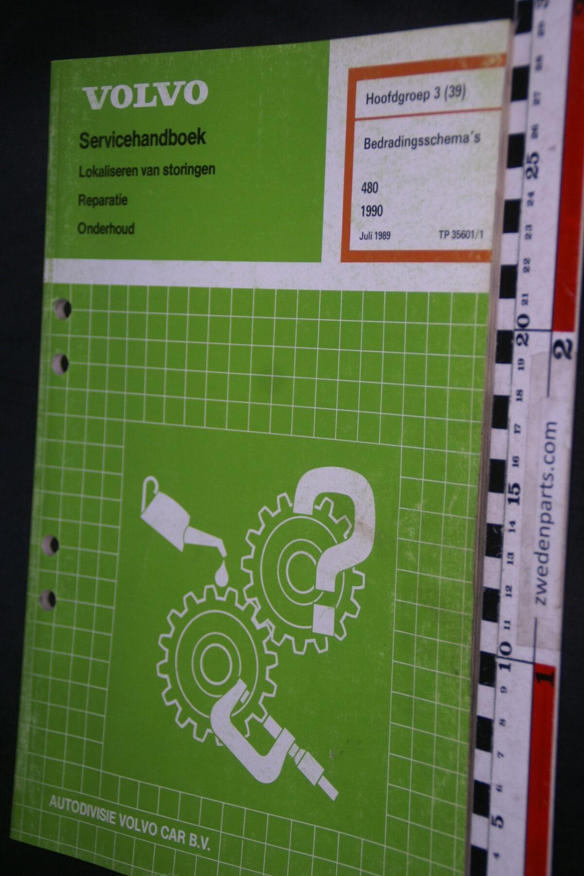 DSC08862 1989 origineel Volvo 480 servicehandboek  3 (39) bedradingsschema 1 van 1.200 TP 35601-1