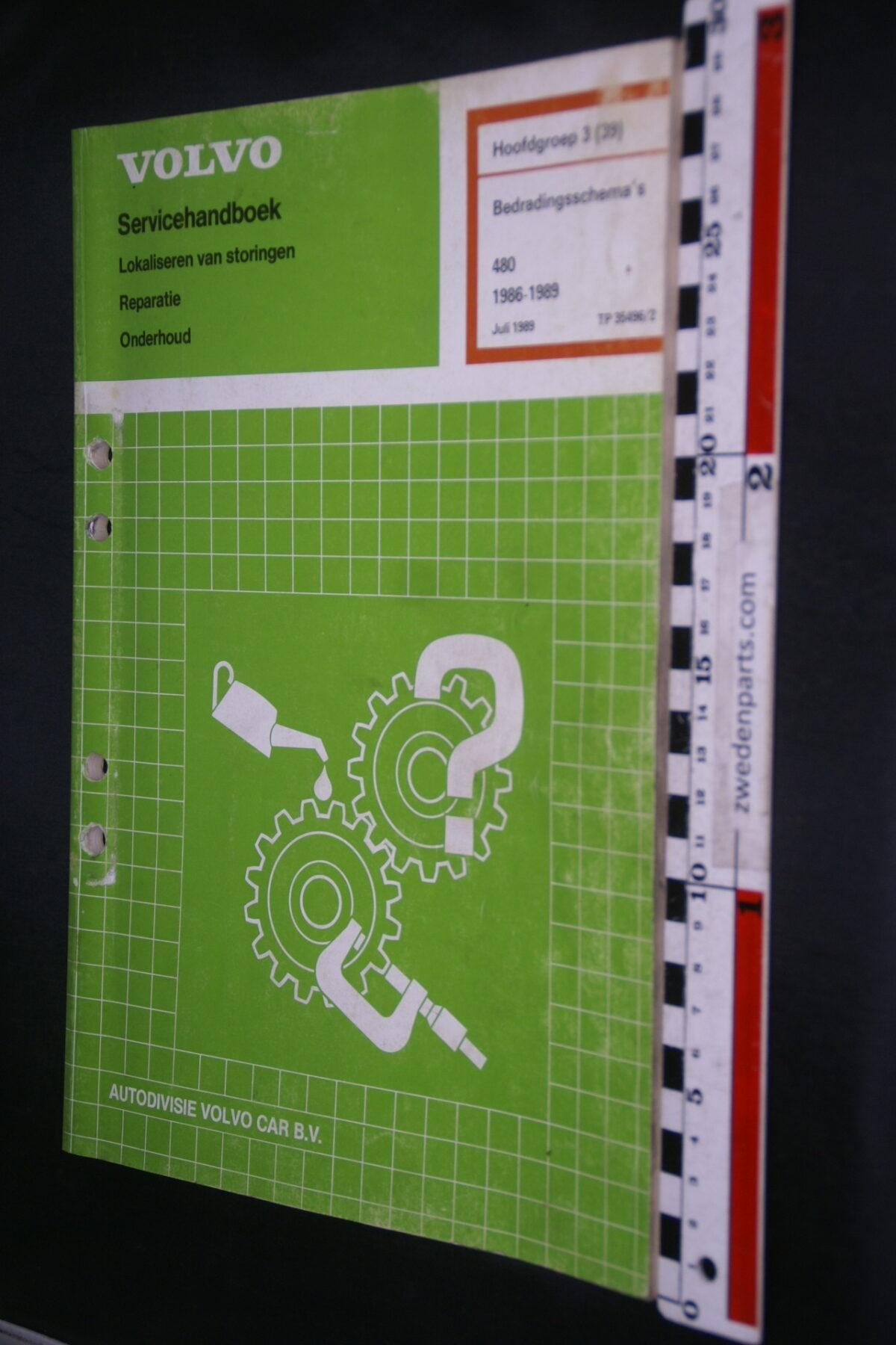 DSC08866 1989 origineel Volvo 480 servicehandboek  3 (39) bedradingsschema 1 van 1.200 TP 35496-2