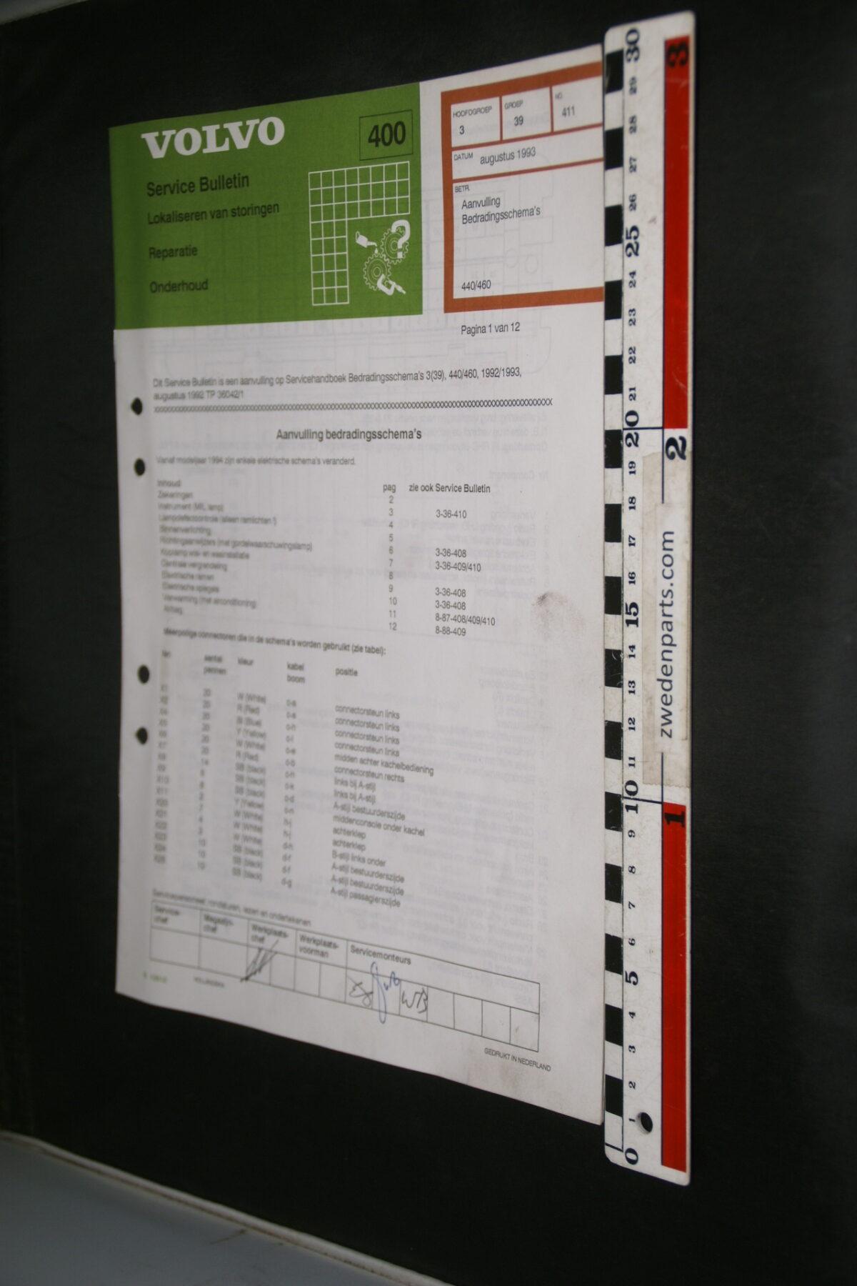 DSC08877 1986 origineel Volvo 440, 460 servicebulletin 3 (39) bedradingsschema B10918