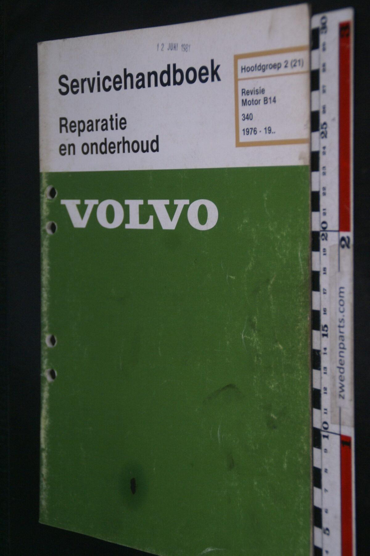 DSC09028 1981 origineel  Volvo 340 servicehandboek motor B14 (21)  1 van 1.000 nr TP 36067-1