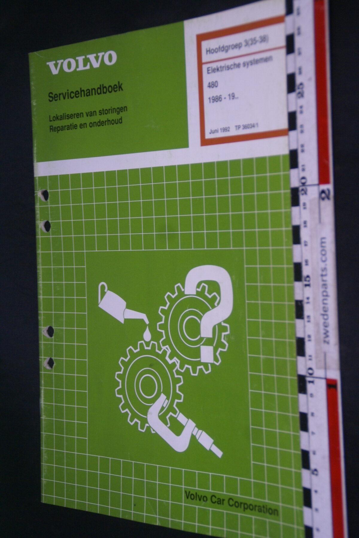 DSC09050 1992 origineel  Volvo 480 servicehandboek electrisch systeem 3 (35-38) 1 van 1.000 nr TP 35334-1