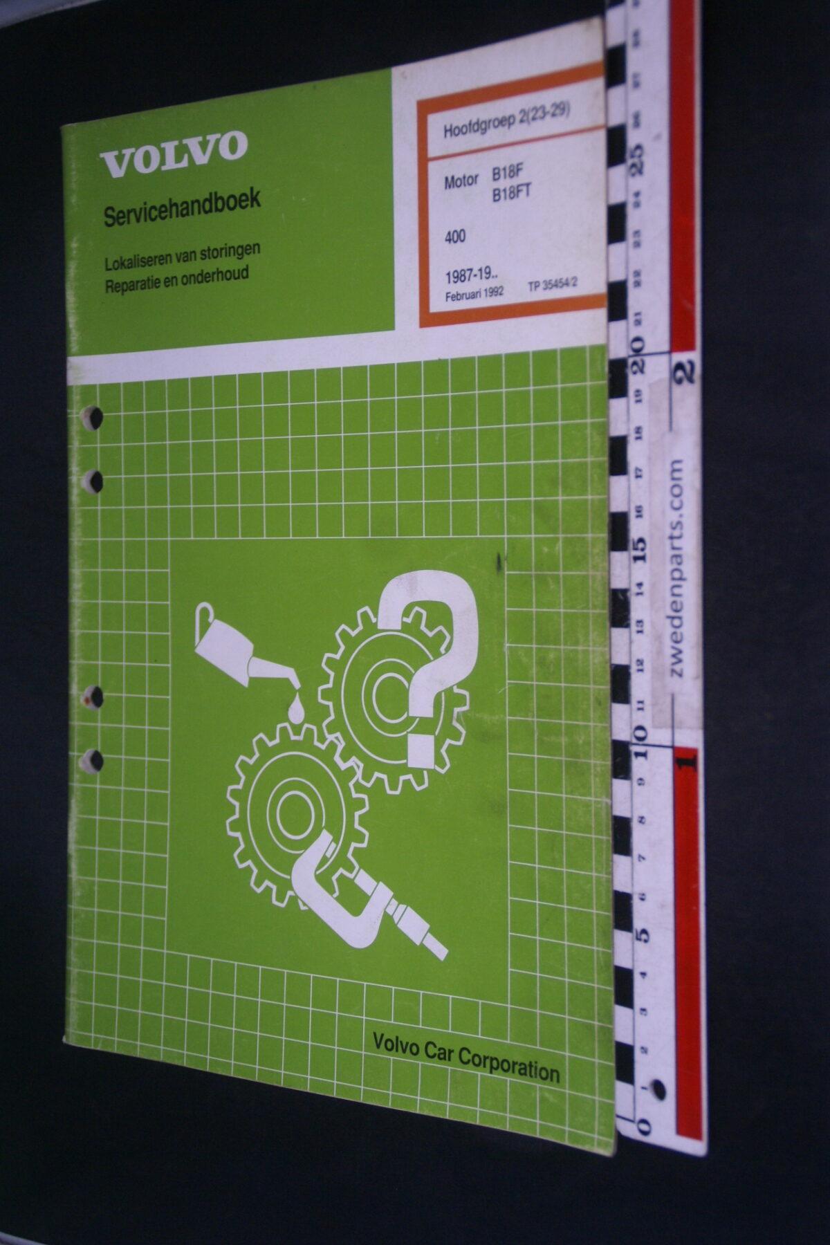DSC09062 1992 origineel  Volvo 480 servicehandboek motor B18F B18FT 2 (23-29) 1 van 1.000 nr TP 354542