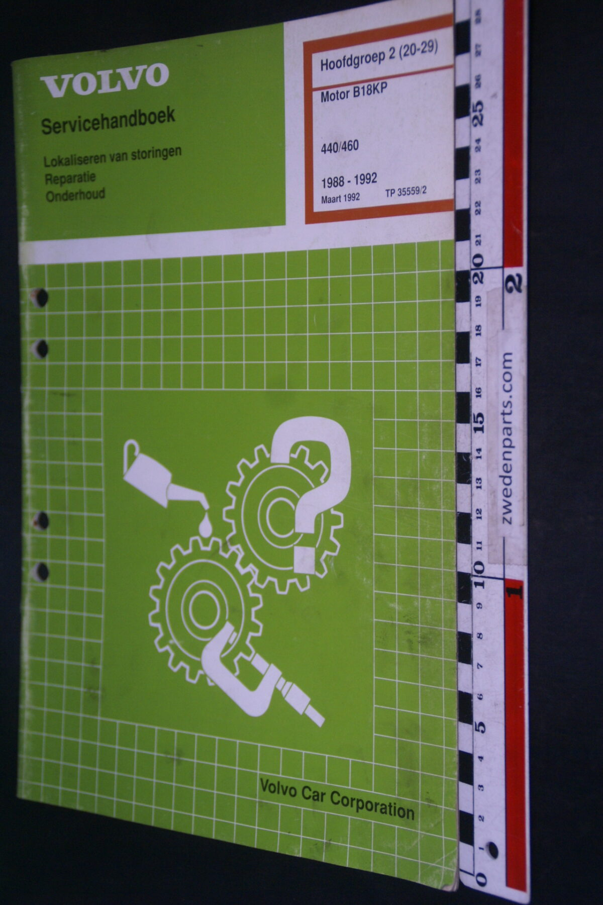 DSC09064 1992 origineel  Volvo 440 460 servicehandboek motor B18KP 2 (20-29) 1 van 1.000 nr TP 35559-2
