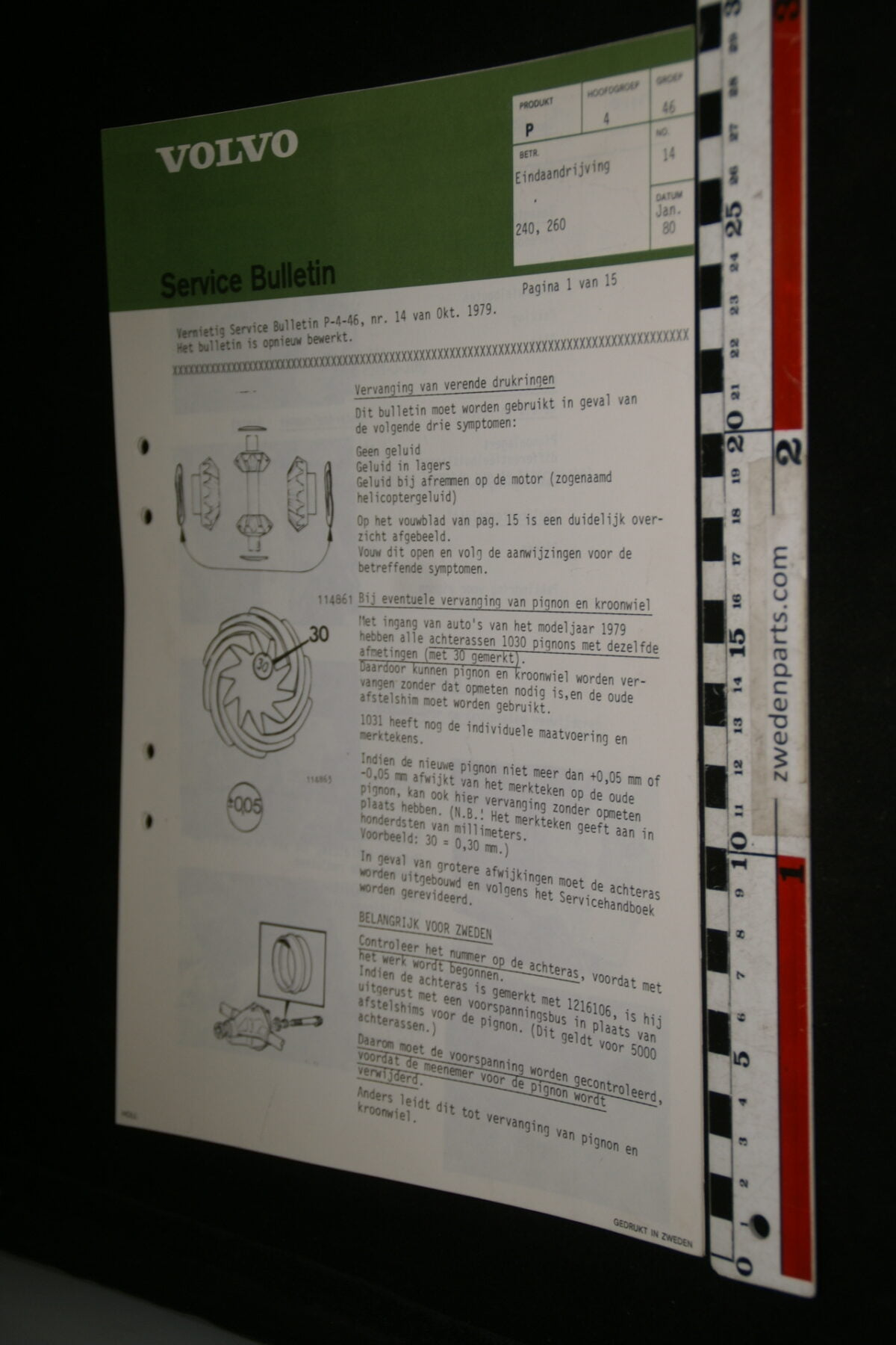 DSC00334 1980 origineel Volvo 240 260 servicebulletin 15 bladzijden eindaandrijving-fb01b948