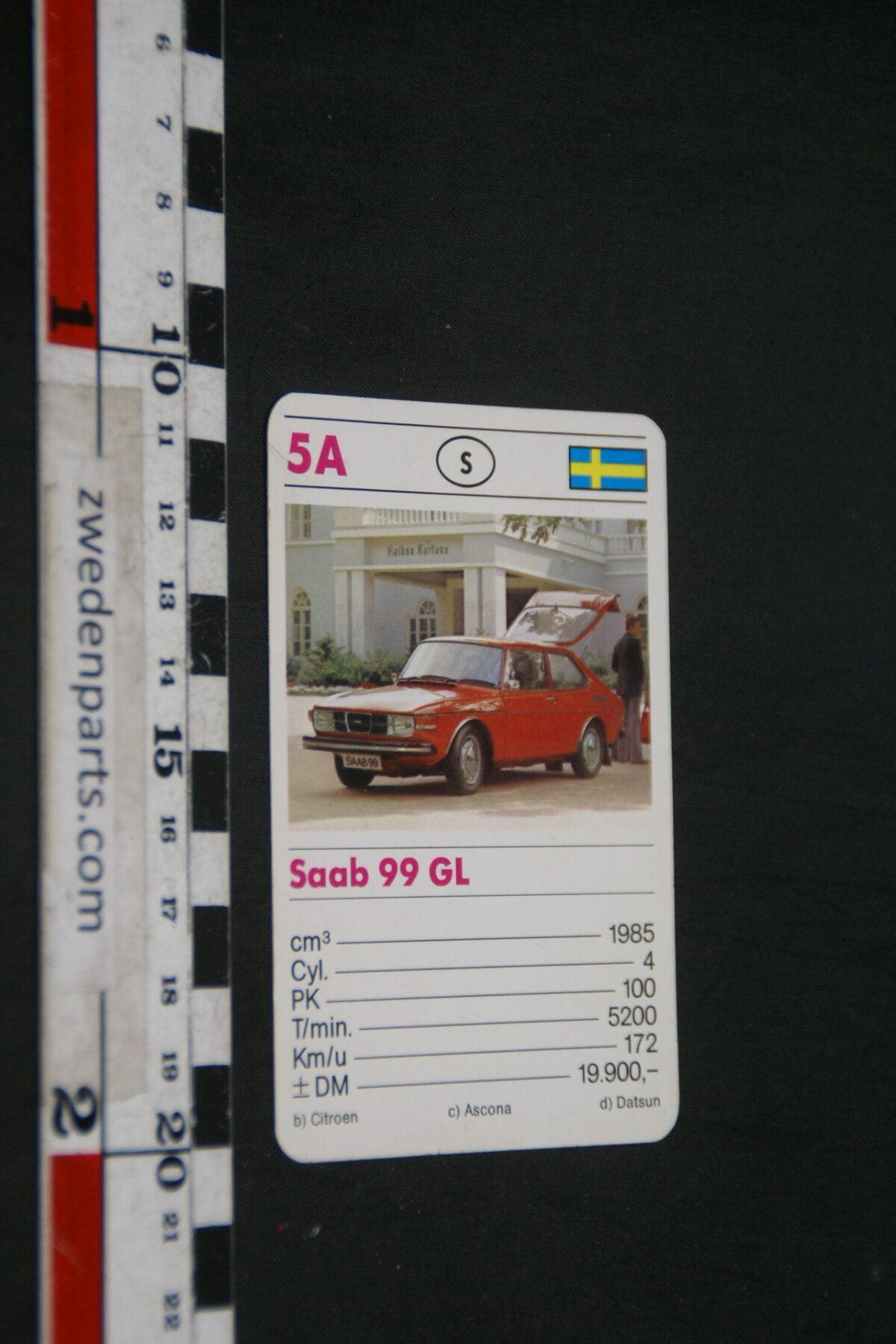 DSC02304 ca. 1965 origineel autokwartetkaart SAAB 99GL-35e1e40d