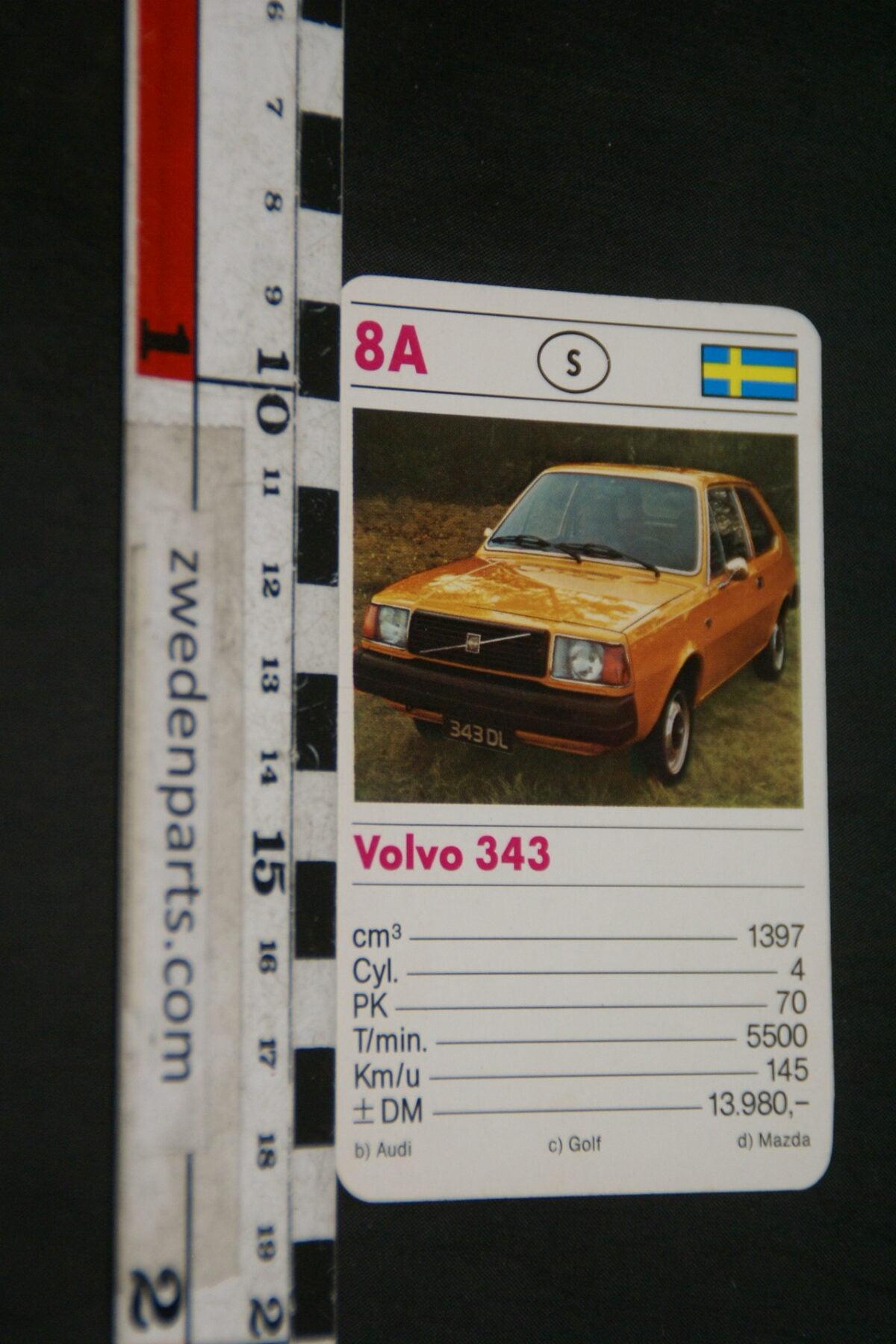 DSC02307 ca. 1977 origineel autokwartetkaart Volvo 343-a115973e