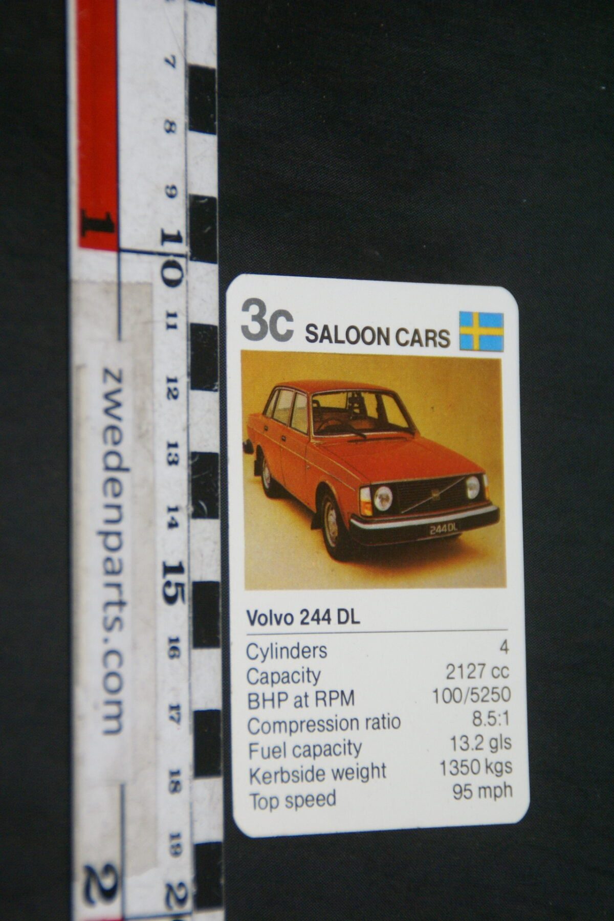 DSC02309 ca. 1976 origineel autokwartetkaart Volvo 244DL-008bef24