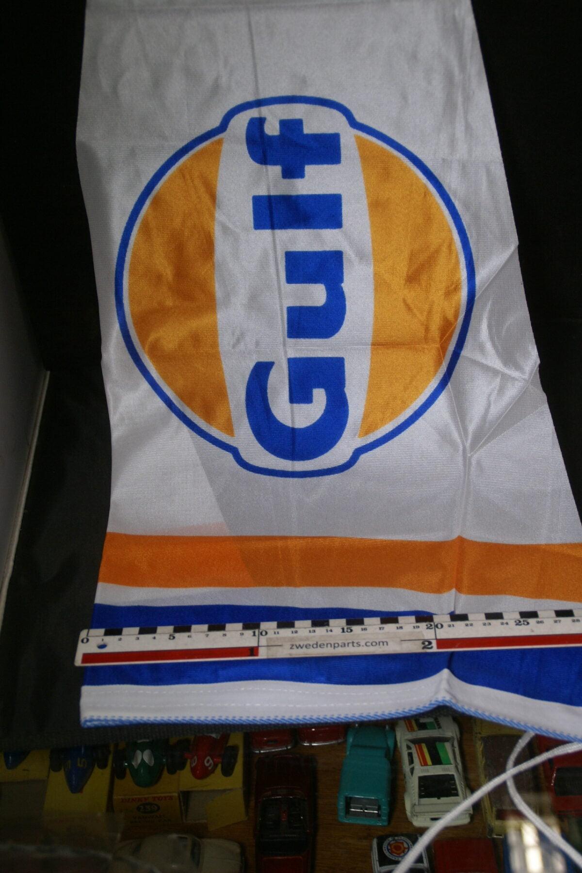 DSC03732 ca 1970 originele vlag GULF olie, ca. 30 x 100 cm NOS-dd0b3c22