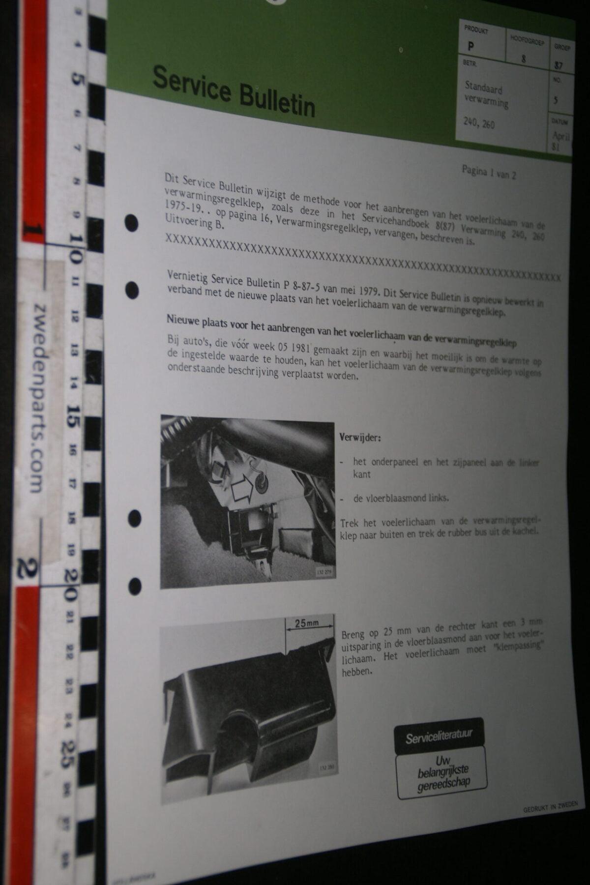 DSC07667 1981 origineel Volvo 240 260 werkplaatsboek servicebulletin 8-87 standaard verwarming-5da3aa0e