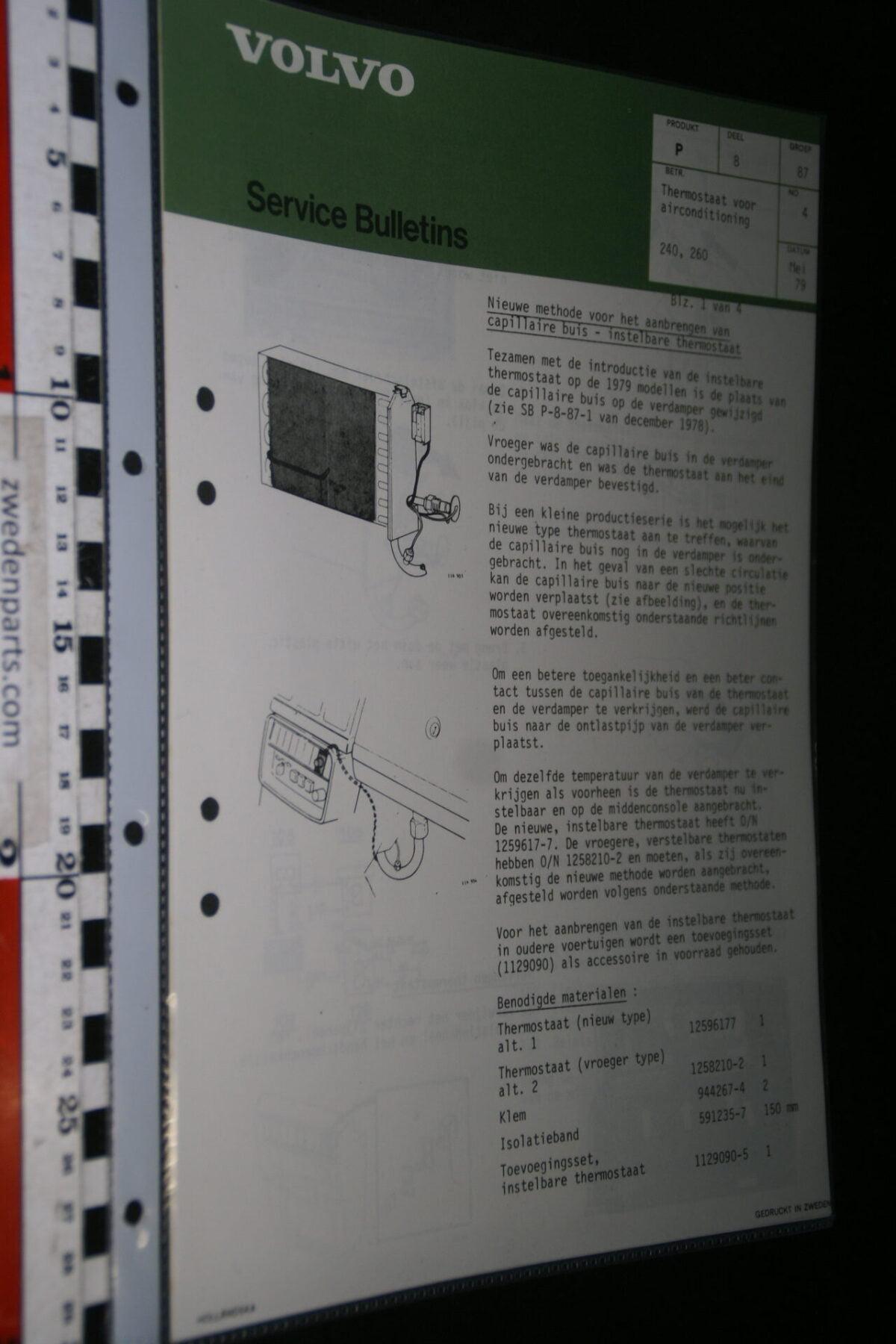 DSC07669 1979 origineel Volvo 240 260 werkplaatsboek servicebulletin 8-87 thermostaat voor AC-36a4a727