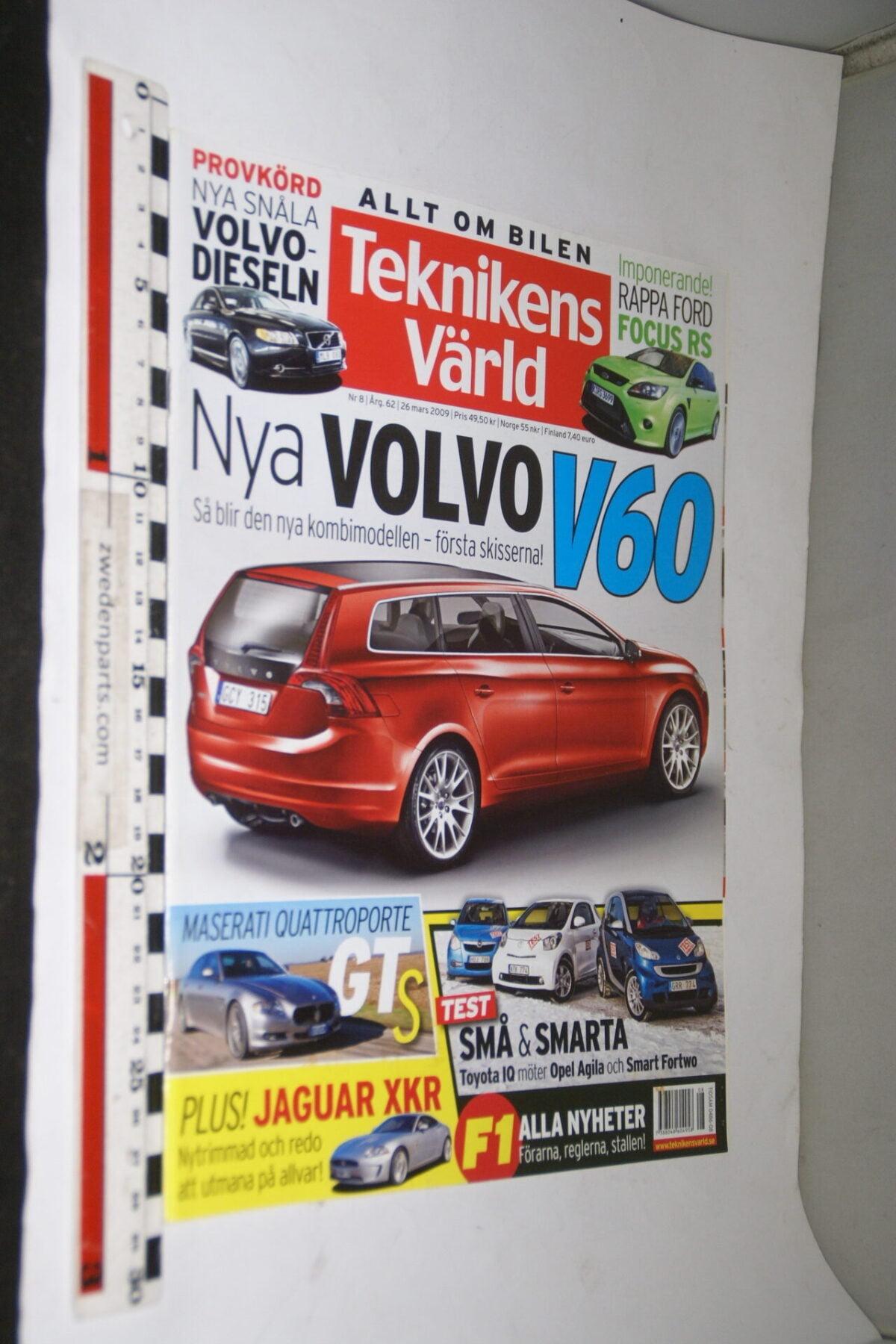 DSC08084 tijdschrift Teknikens Värld 26 maart 2009 met Volvo V60, Svenska-287b1290