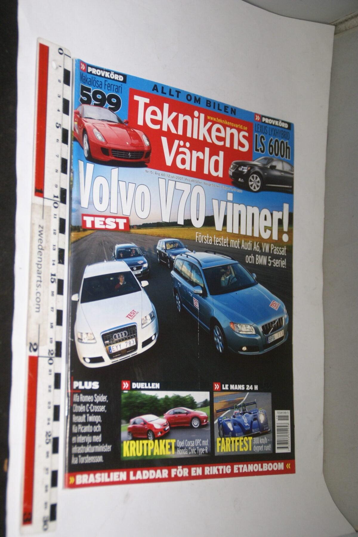 DSC08096 tijdschrift Teknikens Värld 12 juli 2007 met Volvo V70, Svenska-6bb301c5
