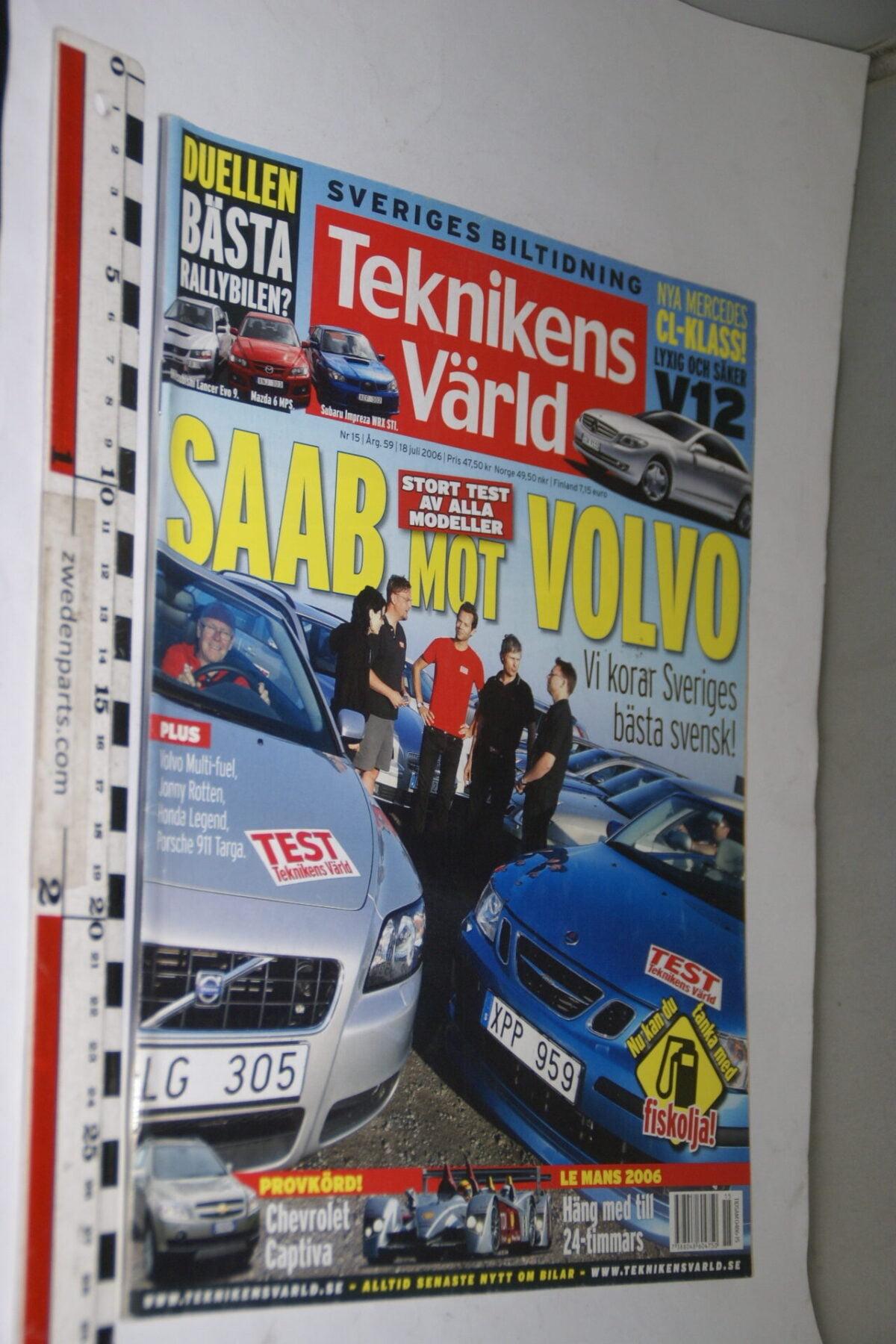 DSC08105 tijdschrift Teknikens Värld 18 juli 2006 met Volvo C70 softtop, Svenska-bb777785