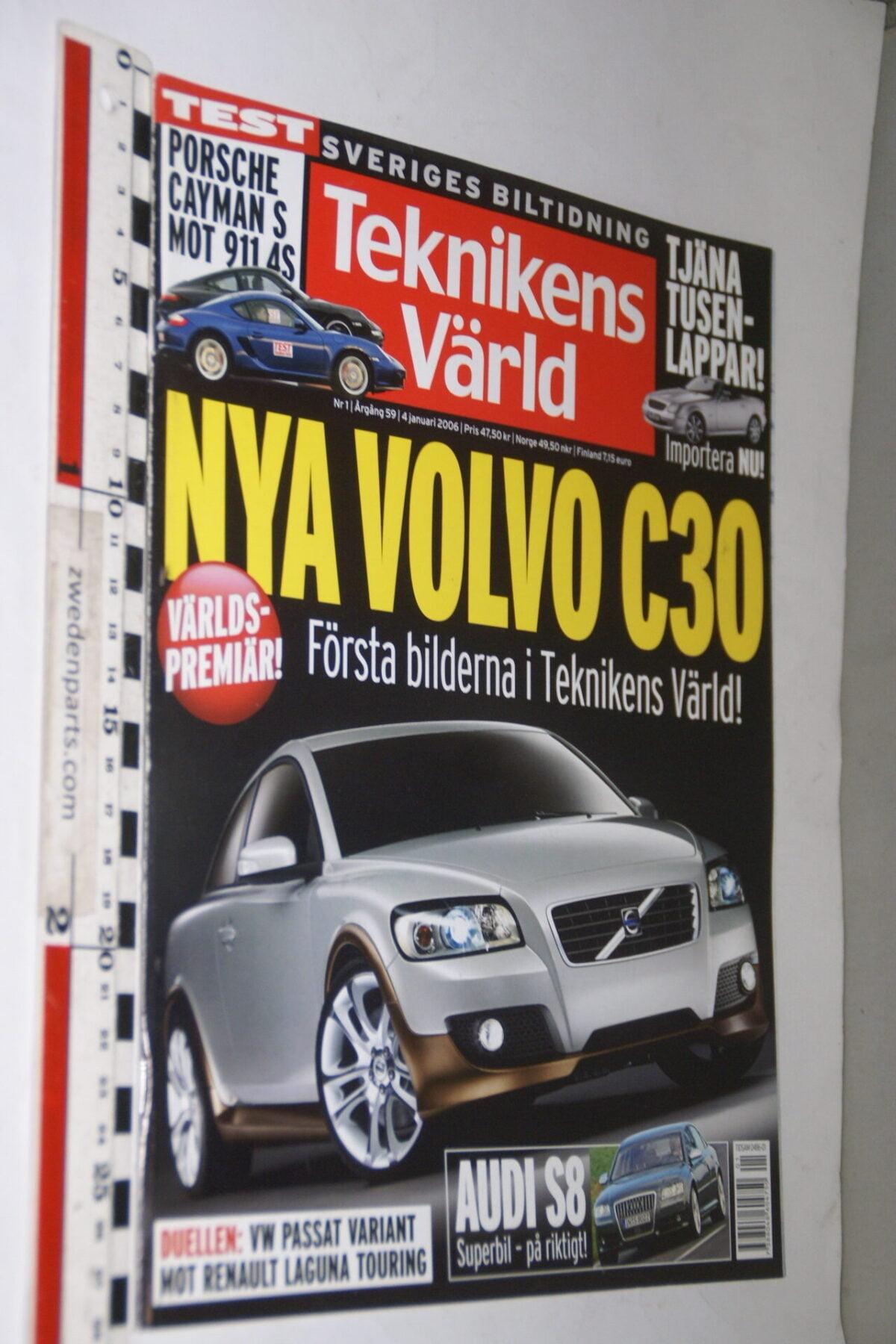 DSC08114 tijdschrift Teknikens Värld 4 januari 2006 met Volvo C30 Design Concept, Svenska-c498b283